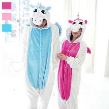 Adult Fleece Animal Sleepsuit Pajamas Costume Cosplay Unicorn Onesuit Pink Blue Pyjamas Jumpsuits Rompers Animal Pyjamas Unicorn