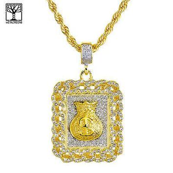 "Jewelry Kay style Gold Plated Iced Out MONEY Bag Pendant 26"" Heavy Rope Chain Necklace NA 0126 G"
