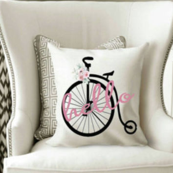 18x18 pillow cover, Throw pillow, Pillow covers, Vintage bike pillow cover, decorative pillows, pillow covers, watercolor pillow cover