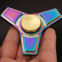 Colorful Fidget Hand Spinner Toys Metal Alloy Steel Bearing Tri Finger Spinner Hand Fidget