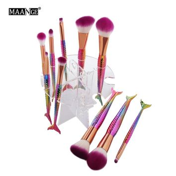 MAANGE 10 Holes Acrylic Mermaid Makeup Brushes Drying Rack Stand Cosmetic Beauty Brush Organizer Pen Holder Shelf Cleaning Tool