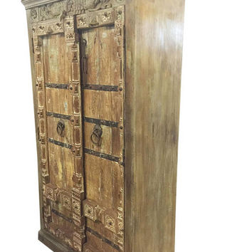 Antique Wardrobe Old Doors Indian Furniture Iron Storage Cabinet nATURAL WOOD Decor CLEARANCE SALE