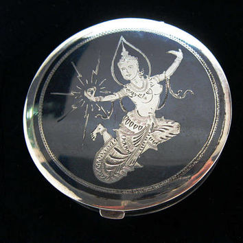 Compact Mirror. Siam Sterling Silver Niello Enamel Lightning Goddess. Orig. Powder Puff Thai Nakon Bangkok. Vintage 1940s Purse Accessory