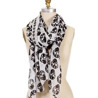 White And Black Skull Scarf
