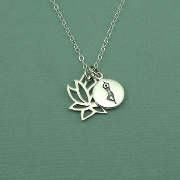 Yoga Pose Necklace - sterling silver lotus flower jewelry, best friend gift