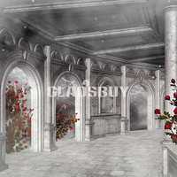 Arched building 10ft x 10ft Wedding Backdrop Computer Printed Photography Background HY-CM-0439