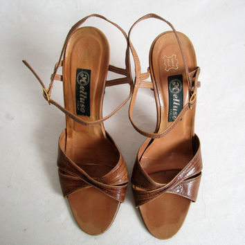 Vintage 70s Leather Sandals Camel Brown Leather High Heel Open Toe Shoes 1970s Womens Footwear 38