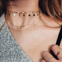 Dainty Gold Color Chain Tiny Star Choker Necklace for Women