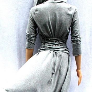 Light Grey Drawstring Irregular Hooded Long Sleeve Fashion Midi Dress