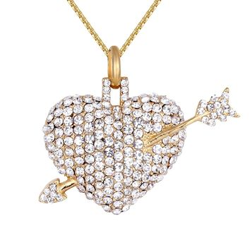IcedOut 3D Heart Arrow Love struck Steel Pendant Chain