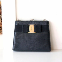 Ferragamo bag Lizard Navy Chain Evening handbag purse