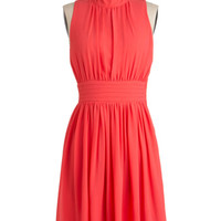 ModCloth Mid-length Sleeveless A-line Windy City Dress in Coral