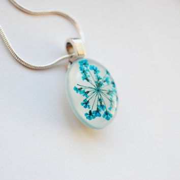 Small Turquoise Real Flower Necklace  Real by NaturalPrettyThings