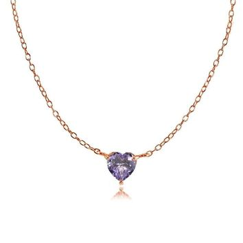 Dainty Simulated Alexandrite Heart Choker Necklace in Rose Gold Plated Silver