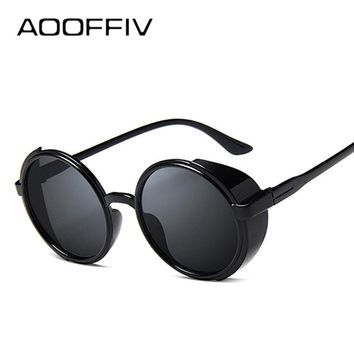 AOOFFIV Round Sunglasses Men Women Punk Vintage Sunglass Brand Designer Fashion Glasses Mirror Lens Top Quality UV400