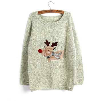 Christmas Elk Casual Knit Sleeve Sweater Coat Cardigan Jacket Top Blous [8422523265]
