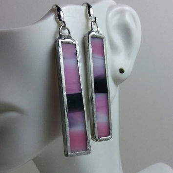 Rectangular Stained Glass Earrings of Pink White & Black Fused Glass