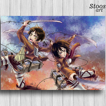 attack on titan poster Eren Jeager and Mikasa Ackerman print art anime gifts