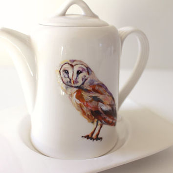 Handpainted Teapot & Saucer - Barn Owl - Woodland Animal - Modern Home Decor - Tableware - White Porcelain Tea Ware - Original Painting