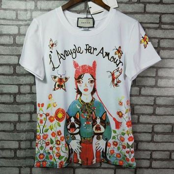 PEAPON  Gucci ' Women Fashion Print Image T-shirt top