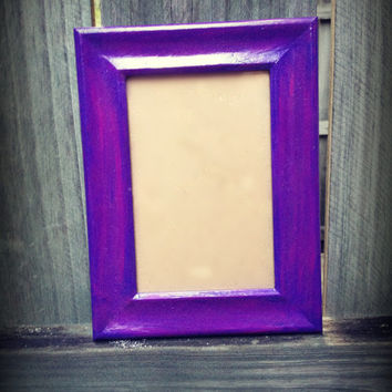 Upcycled Hand Painted Purple 4x6 Custom Frame With Pink Streak Highlights Table Sitting and/or Wall Hanging