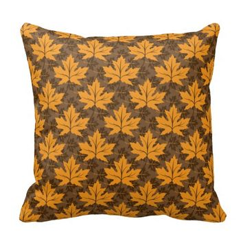 Fall maple leaves in autumn colors pattern throw pillows
