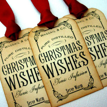 Christmas Gift Tags, Set of 6, Vintage Style, Hang Tags, Decorations, Favor, Red Burgundy, Bottle Tag, Luxury Tags, Choice of Ribbon Colours