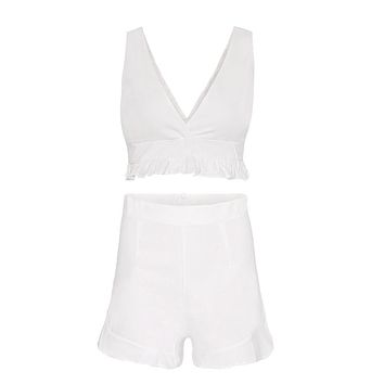 Umeko Two Piece Ruffle Set Sleeveless Deep V Neck Crop Tops High Waist Shorts Casual