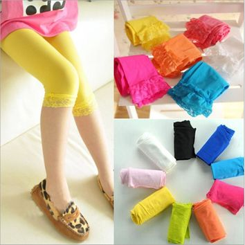 5pcs/LOT Spring, summer, new Candy color lace hook lace children pantyhose at five to seven points leggings girls ATWS0119