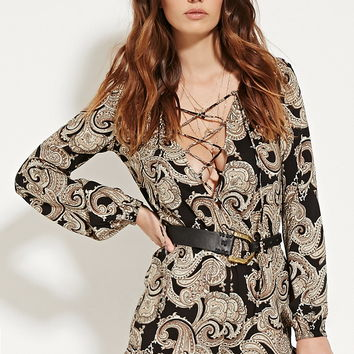 Ornate Lace-Up Front Romper
