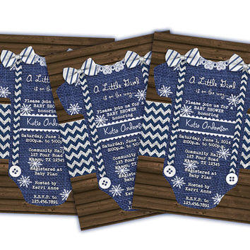 Its a Girl Winter Baby Shower Invitations - Girl Romper Invitations - Little Girl Is On The Way - Burlap Wood Baby Shower Invite Snowflakes