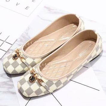 Louis Vuitton LV plaid flat shoes canvas women sandals shoes H-L 4a13850a8e90