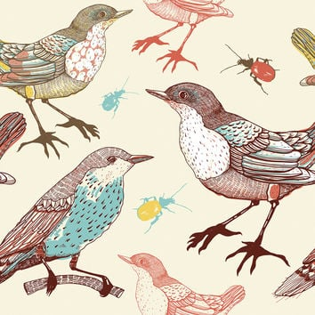 Birds and Beetles Removable Wallpaper