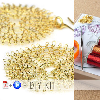 Yoola Sunflower Kit , wire crochet , DIY kit , video tutorial , pdf pattern , crochet hook , wire , ISK starter large flower , jewelry kit
