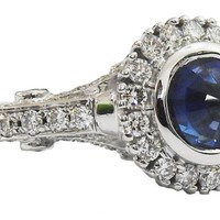 Edwardian Sapphire ring Sapphire ring Unique engagement ring Solid Gold with side stones in 14K White gold