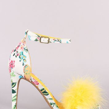Feather Floral Print Ankle Strap Open Toe Stiletto Heel