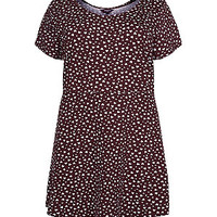 Inspire Red and Cream Heart Print Jersey Dress