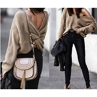 Women Solid Color Fashion Backless V-Neck Long Sleeve Knitwear Sweater  Tops