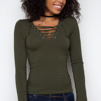 After Party Lace Up Top - Olive