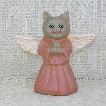 Handmade Ceramic Angel Cat / Cat Lover Gift / Angel Figurine / Ceramic Cat Statue / Cat Angel Statue / Cat Decor / Cat Figurine