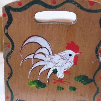 FREE SHIPPING - Spice Rack/Wood Spice Rack/Vintage Spice Rack/Rooster Decor/Country Decor/Rooster Spice Rack/Spice Cabinet
