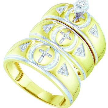 10kt Yellow Gold His & Hers Marquise Diamond Crosses Matching Bridal Wedding Ring Band Set 1/6 Cttw
