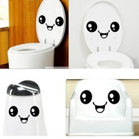 FoodyMine Cute Smile Face Toilet DIY Wall Sticker Home Furniture Bathroom Creative Decals
