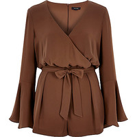 River Island Womens Brown smart 70s bell sleeve Romper