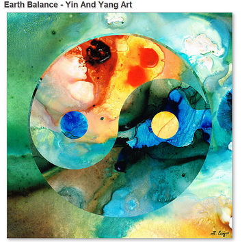 Yin And Yang Art Print from Painting Colorful Red Blue Abstract Yoga Aqua Asian Zen CANVAS Ready To Hang Large Artwork FREE Shipping S/H