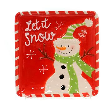 Tabletop WINTER'S FROST SNOWMAN PLATE Ceramic Microwave Safe 178897 Green