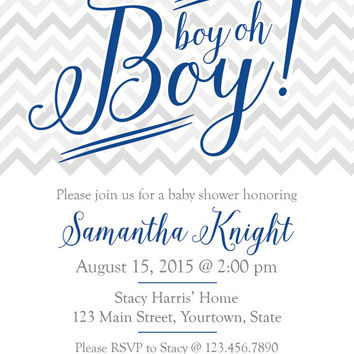 "4"" x 5"" Chevron Boy Oh Boy! Baby Shower Invitation on Card Stock or Photo Paper"