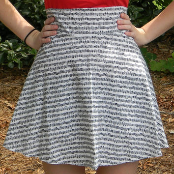 High Waist Sheet Music Circle Skirt (Custom Size)