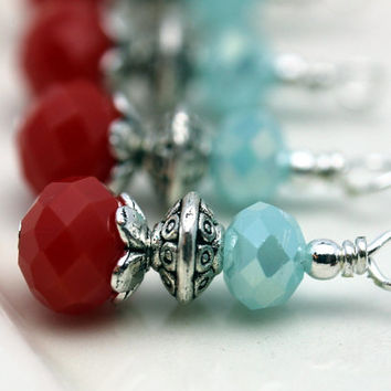 Deep Coral and Aqua Blue Rondelle Crystal Bead Dangle Drop Charm Set - 4 Piece