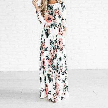 ESBONC. Preself Rose Floral Printed Long Maxi Dress New Women Crew Neck Fashion 3/4 Sleeve  Plus Size  Boho Beach Dress Vestidos 2017